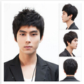 High Quality   Black 100%  Synthetic Short Hair Man Fashion Wigs men wig Male fluffy hair wigs lifelike, boy wig