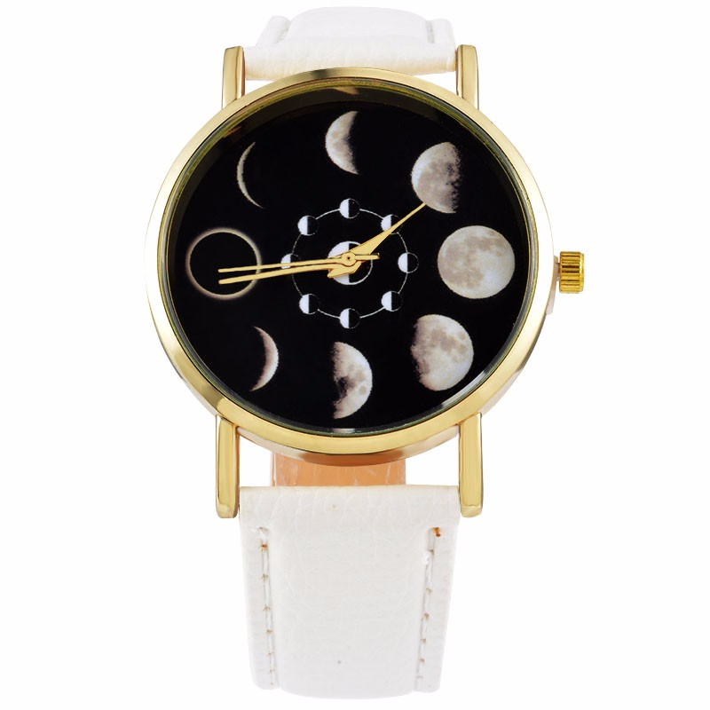 2017 Casual Moon Change Phase Lunar Eclipse Watch Women Stylish Top Watch PU Leather Bracelet Relogio Feminino Women Clock hour