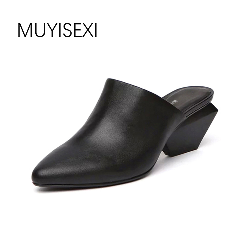 Mules Slippers Genuine Leather Pointed Toe Strange Square High Heel Spring Autumn Women Shoes Gray Black