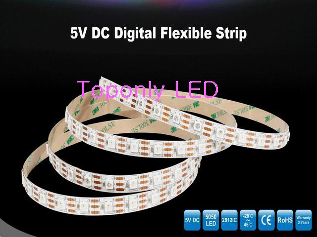 IP20 DC5V RGB Digital Flexible LED Strip with Built-in 2812 IC SMD5050 60leds/m 3m/reel 10reel/lot 2017 DHL free shipping светодиодная лента world uniqueen 10pcs lot dhl ems 24v 14 4w 60leds smd 5050 wu 24v 5050 60 wnw