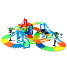 Connect 2 Type Railway Magical Racing Track Play Set Diy Bend Flexible Race Track Electronic Flash Light Car Toys For Children new magic track flexible rail racing car model railway road magical truck pull back tracks cars set diy toys for children gifts