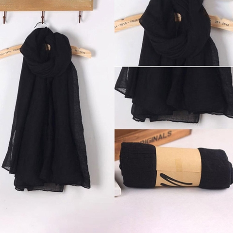 2018 Fashion New 16 Colors Women Long Scarf Wrap Scarves Vintage Cotton Linen Large Shawl Hijab Elegant Solid Black Red Whi Karachi