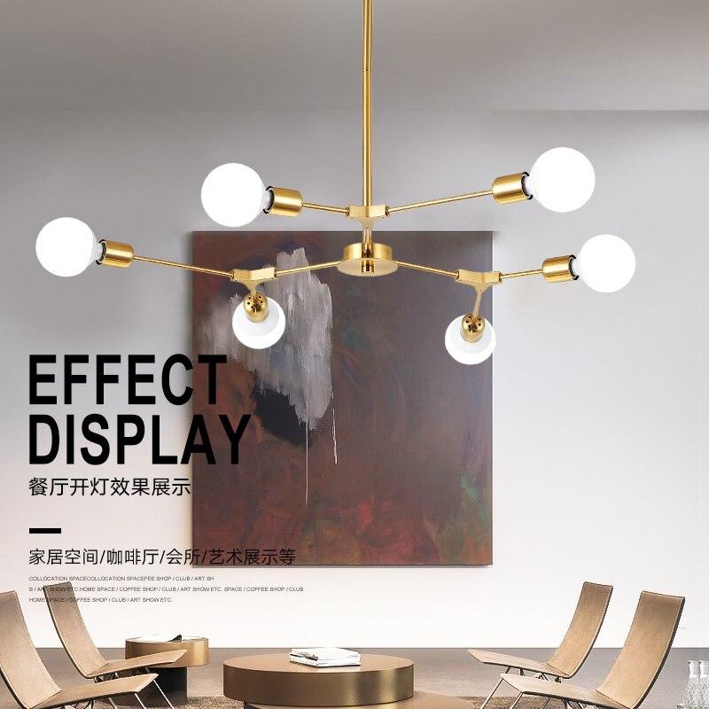 Gold chandelier lighting vintage LED E27 chandelier light dining room Frosted glass lampshade for living room Lamps