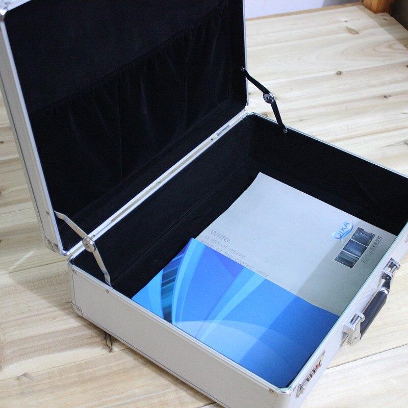 Купить с кэшбэком High-grade  Aluminum case tool case toolbox 47* 35*14cm strongbox meter box suitcase file box instrument case With lock suitcase