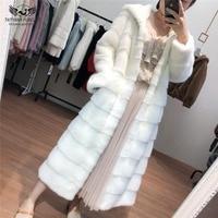 Tatyana Female Stand Collar Oversized Hoods Slim Mink Fur Coat Fur Natural Collar Genuine Women Luxury Coats Luxury Mink Jacket