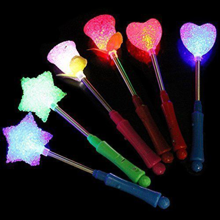Star LED Toys 3 Styles Luxury LED Magic Star Wand Flashing Light Up Glow Stick For Party Christmas Colorful Light-Up Toys