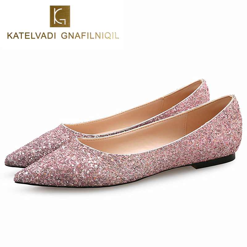 Brand Brides Shoes Flats Women Glitter Bling Bling Shoes Summer Flats Fashion Pointed Toe Ballet Flats Wedding Shoes Woman K-143 women flats shoes woman spring glitter casual loafers black golden bling glitter flats lazy shoes size 36 40