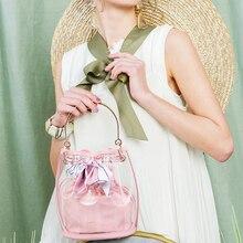 Fashion 2019 new transparent handbag bucket bag  with chain crossbody womens bowknot girl pink jelly beach high quality
