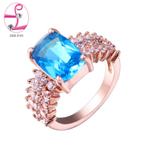 ZHE FAN Blue Rings Glass Pave White Zircon Rose Color Plating Women Party Jewelry Rectangle Shape