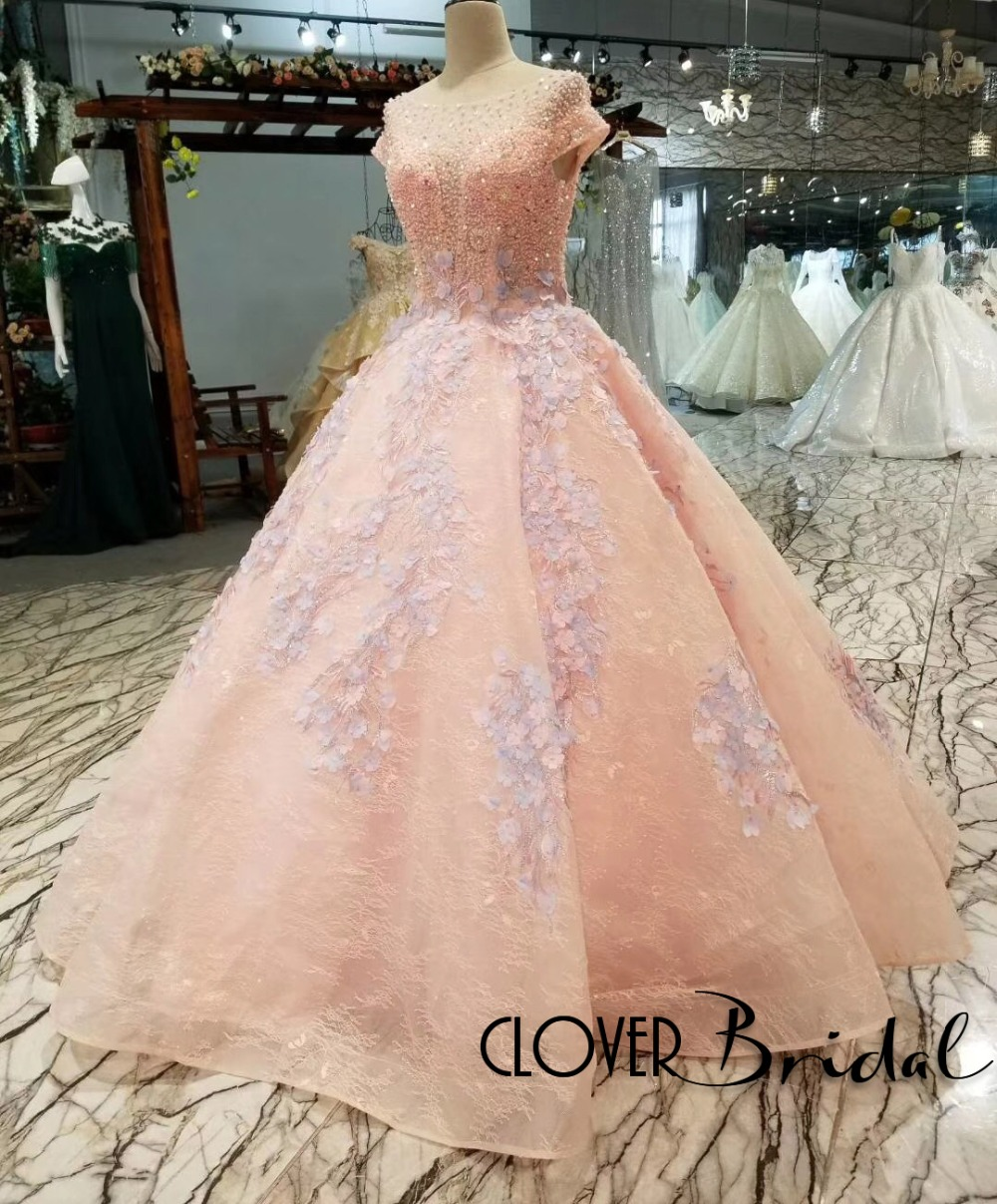 CloverBridal 2018 Latest Romantic Luxury beaded handmade flowers Floor Length Pink  Lace Ball Gown Corset Keyhole back