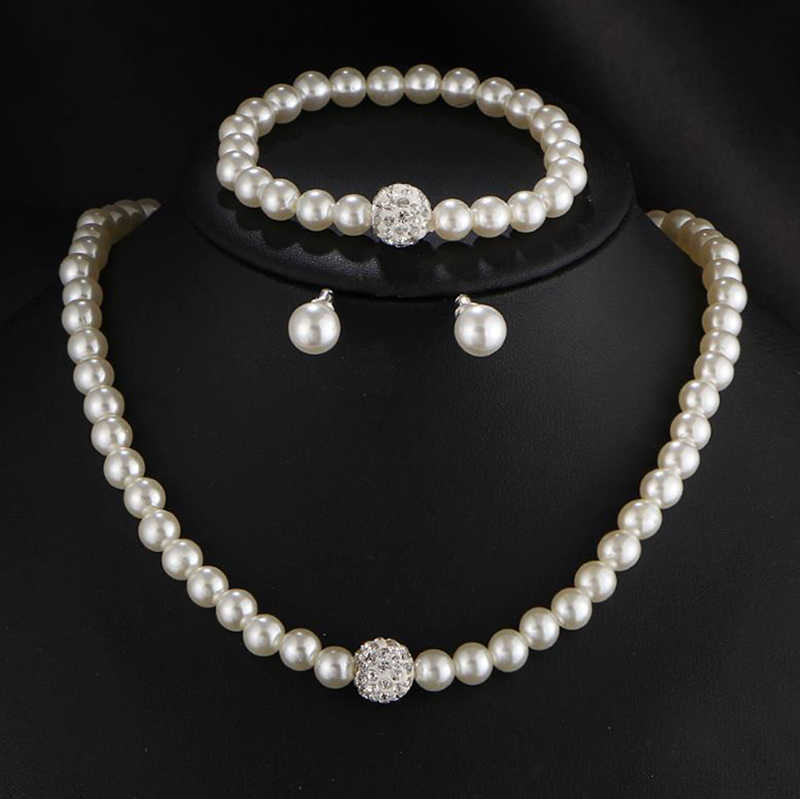 Hot Fashion Simulated Pearl Indian Wedding Jewelry Sets for Women Bridal Crystal Earrings Statement Necklace Brinco 2T115