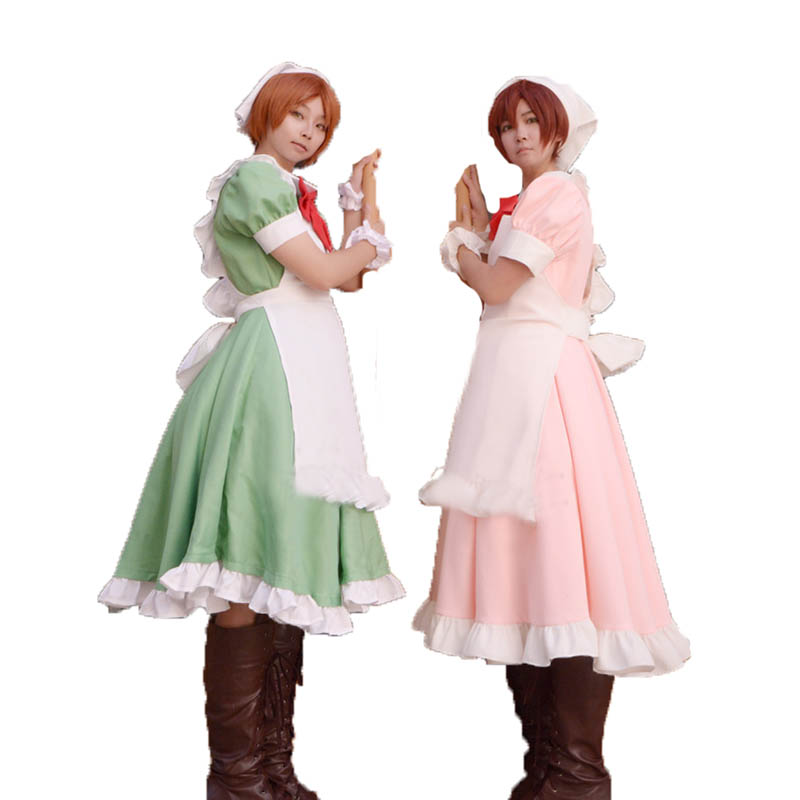 free shipping Anime Axis Power Hetalia cosplay Feliciano Vargas Halloween Japanese Harajuku pink green color Maid costumes