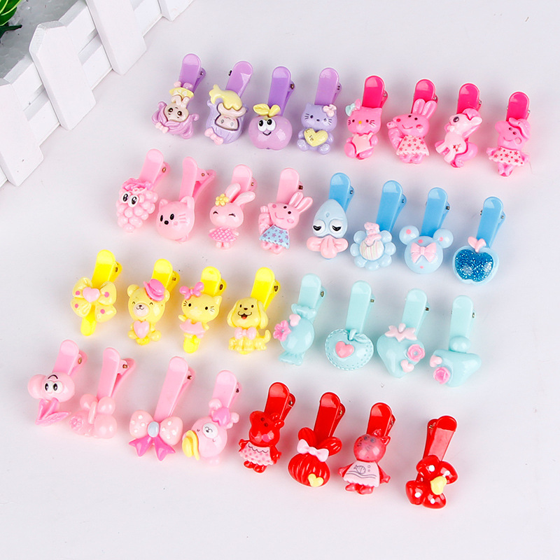50PCS Mix Color Barrette Baby Hair Clip Cute Flower Solid Cartoon Handmade Resin Children Hairpin Girl Hair Clip Accessories