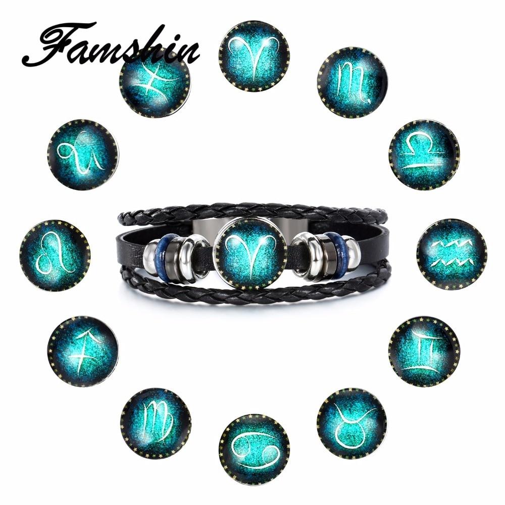 FAMSHIN 2018 Virgo/Sagittarius/Aquarius/Scorpio/Libra/Capricorn 12 Constellation Bracelet Men Women Braided Leather Bracelets