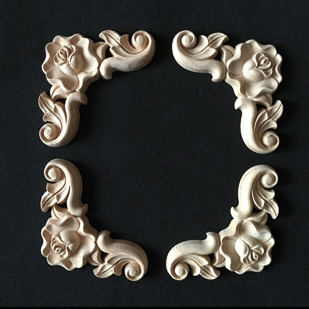 WINGOFFLY Wood Carved Onlay Corner Unpainted Applique Frame for Decoration Home Furniture Doors Windows 2 Pics 16x8x0.32