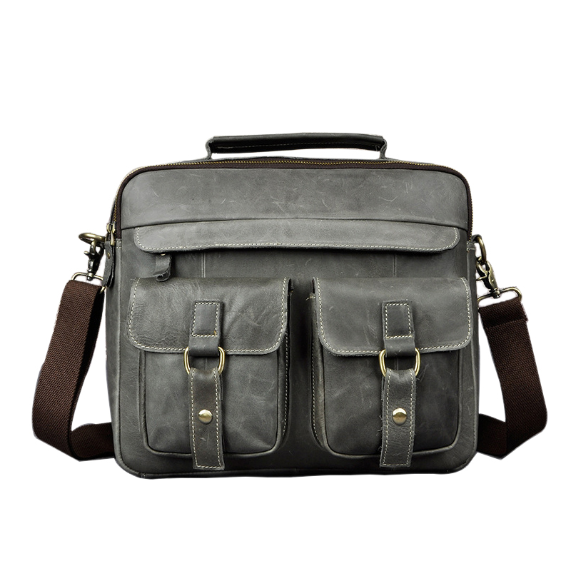 Retro Mens Business Shoulder Bags Genuine Cow Leather 13 Computer Ipad Handbags Real Leather Document BriefcasesRetro Mens Business Shoulder Bags Genuine Cow Leather 13 Computer Ipad Handbags Real Leather Document Briefcases