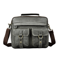 Retro Men's Business Shoulder Bags Genuine Cow Leather 13 Computer Ipad Handbags Real Leather Document Briefcases