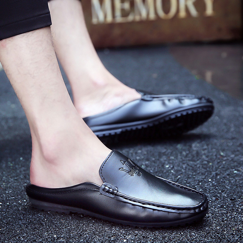 Korean Version Of The Summer Casual Simple And Comfortable Single Wear Baotou Men's Sandals Without Heel Half Drag 2