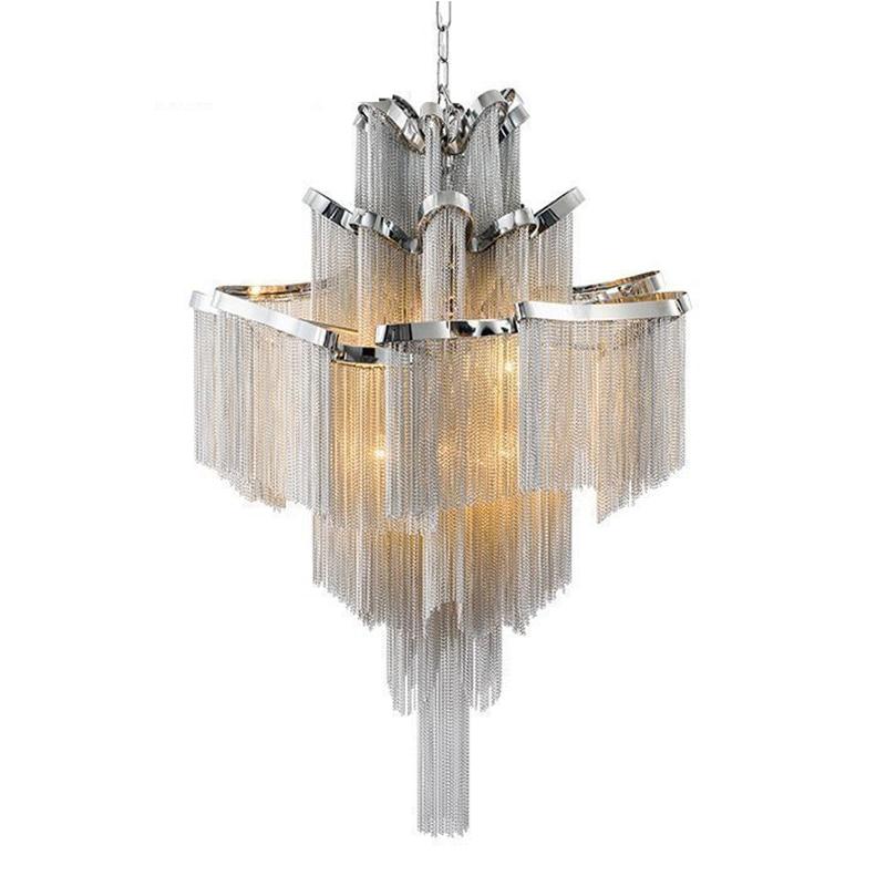 Doprava zdarma Lustr lehký moderní hliníkový střapec lustr osvětlení luxusní pohostinství lampa domů deco Itálie design E14