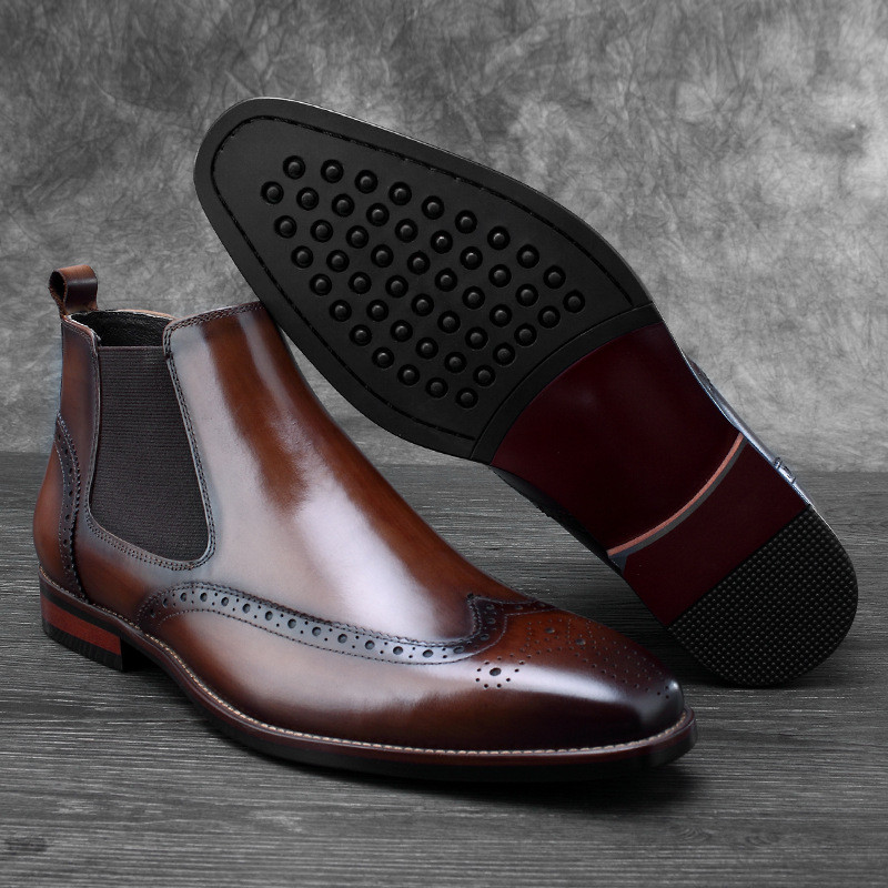 cb631d5b7c Hombre Negocios Social Genuino Botas tan tan Black Moda Negro De Cuero  Chelsea Vestir Zapatos Para f7aYxqx