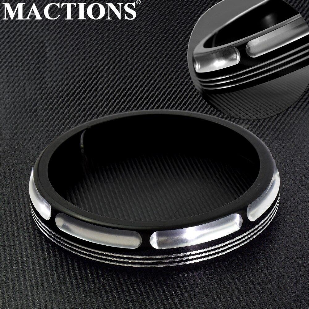 Motorcycle Parts 7 Burst Headlamp Trim Ring Black Aluminum For Harley Touring Street Glide Road King