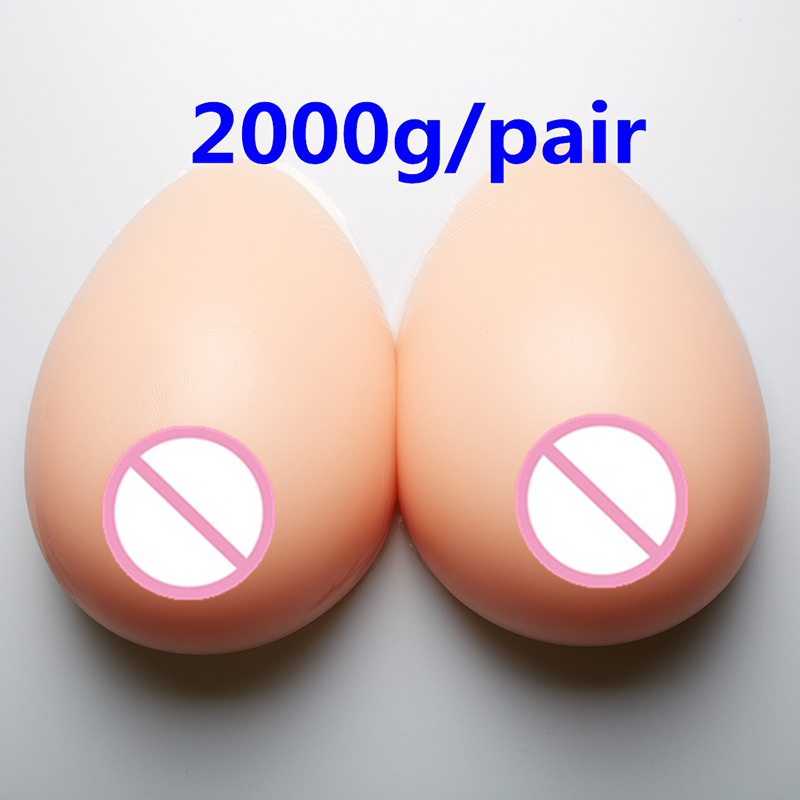 2000g/pair Silicone Breast Forms Breast Prosthesis Crossdresser Drag Queen Shemale Transgender False Boobs False Breasts 2000g pair h i cup super huge heavy breast fake silicone breast forms for shemale transgender crossdresser breasts enlargement