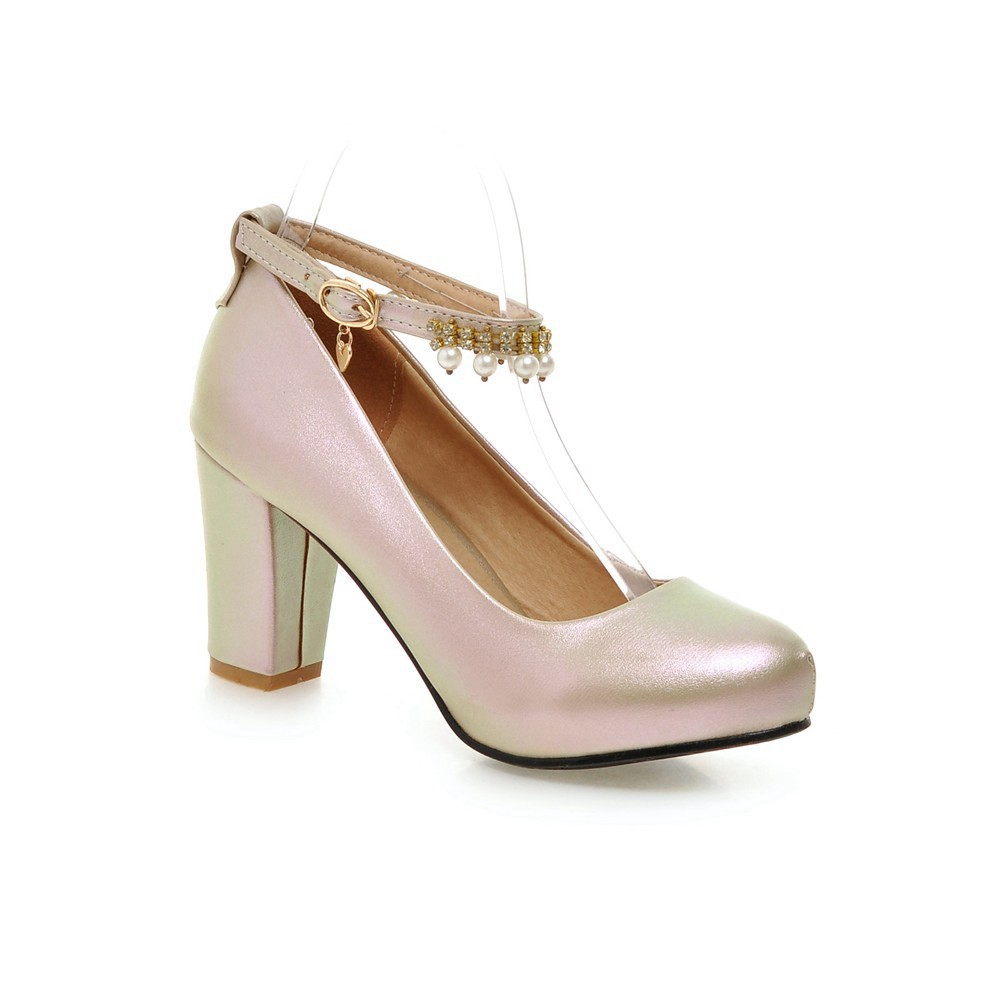 2017 Chunky High Heeled Pink Bridal Wedding Shoes Beaded White Female Buckle Elegant Pumps Silver Gold15