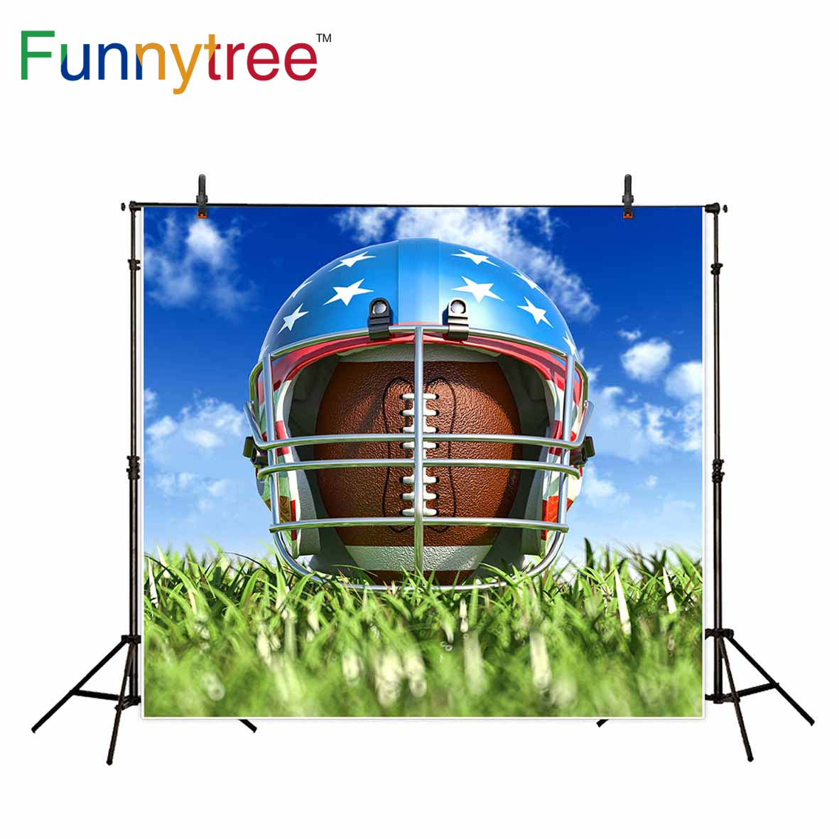 Funnytree backgrounds for photography studio American football helmet grass sport sky professional backdrop photobooth printed