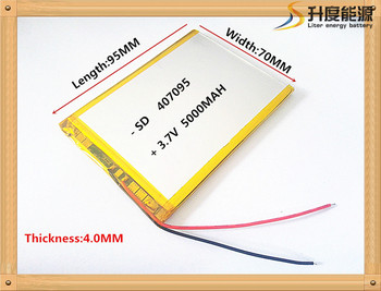 3.7V 5000mah (polymer lithium ion battery) Li-ion battery for tablet pc 7 inch MP3 MP4 [407095] replace  [357095] High capacity