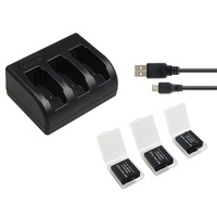 Three Charger For Battery Of GoPro Hero 5 With Three 1220mAh Batteries Not Suitable For Version
