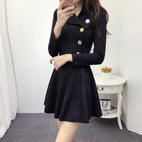 Suede dress fall and winter clothes Korean Slim European fashion long sleeved A line dress