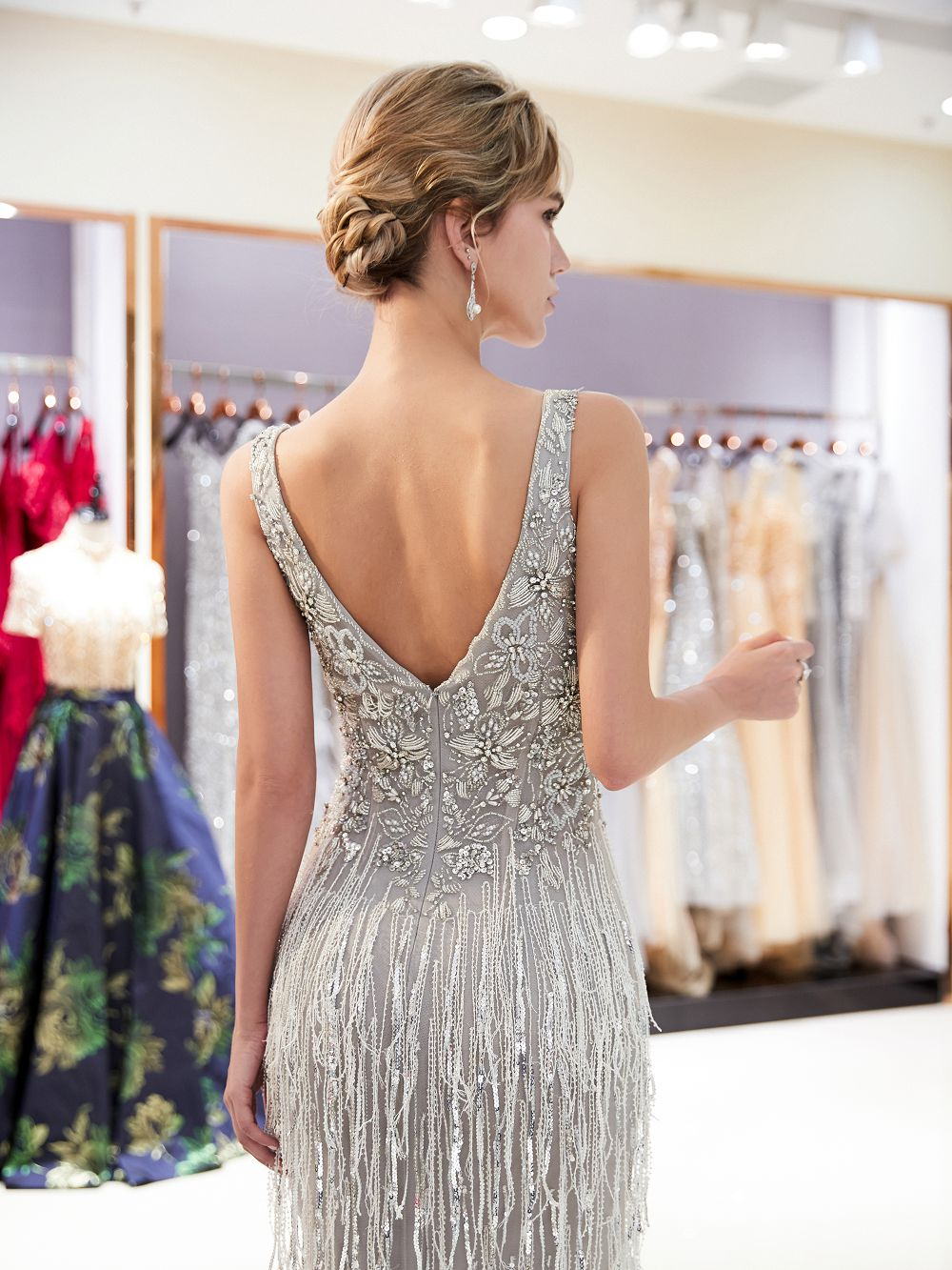 0a4136e5db7d Heavy beading fringes beaded evening Dress 2018 dubai long evening dresses  deep V neck Prom dress formal Gown Vestido de Noiva-in Evening Dresses from  ...