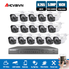 AHCVBIVN H.265 16ch nvr 4k 5mp cctv system poe kit uhd ip Waterproof outdoor camera 16CH POE NVR Surveillance
