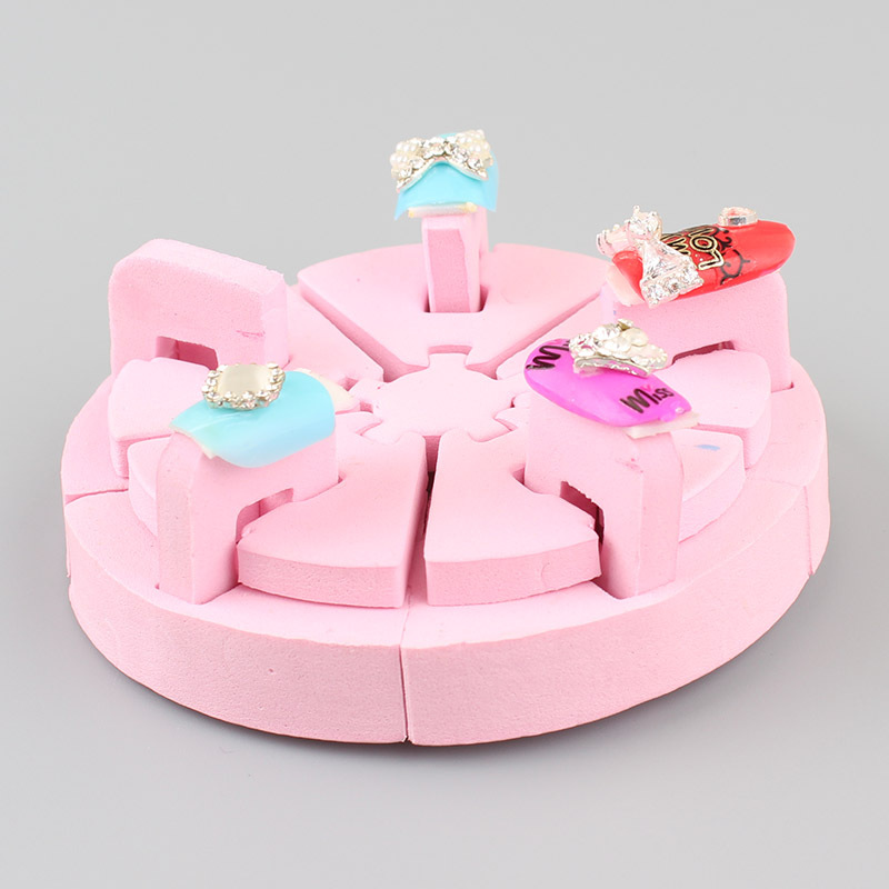 2017 Hot Sale Pink Sponge Full Cover Kids False Nail Metallic Salon ...