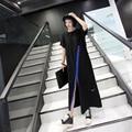 Hit de color carta de lucha de la piel dividida moda harajuku cremallera larga dress de las mujeres batas de algodón dress casual de las mujeres
