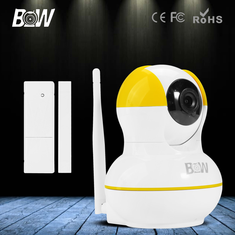 ФОТО BW Mini IP Camera Dome Wireless Wifi 720P HD Network CCTV Onvif Indoor P/T Homecare Portable with SD Card + Door Sensor Alarm
