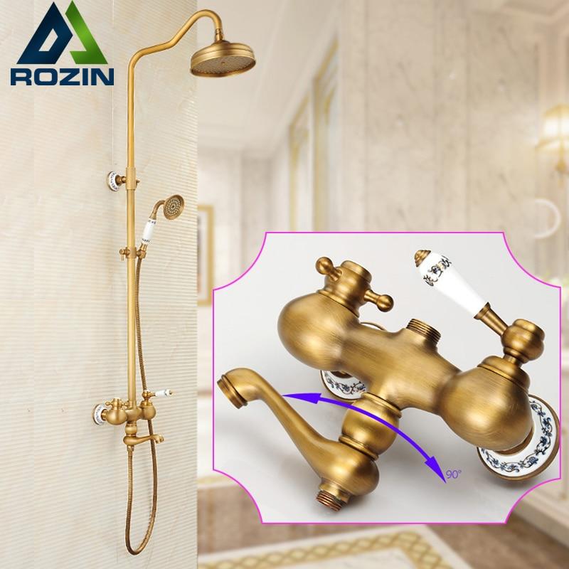 இEuropean Style 8 Brass Rain Shower Faucet Set Single Handle Swivel ...