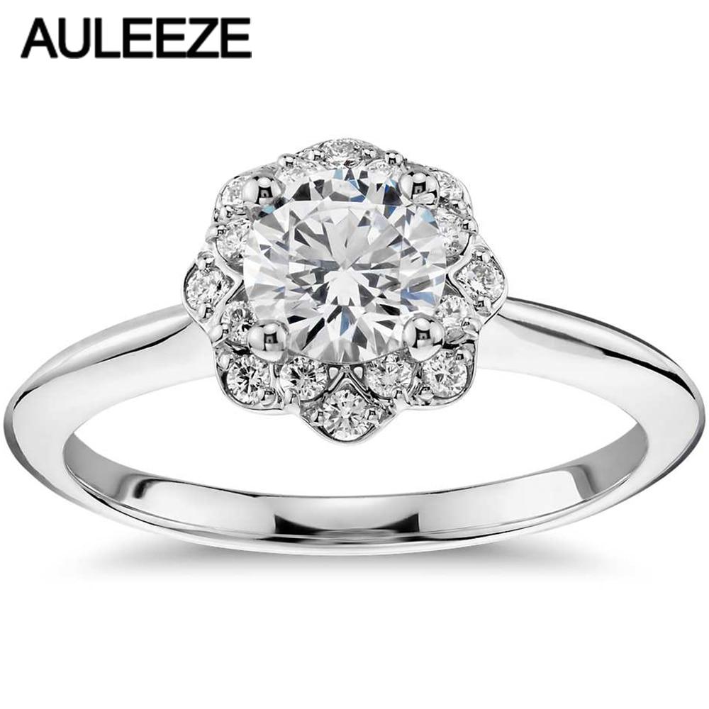 Floral Halo 1ct Putaran Cut Simulasi Berlian Wedding Ring Solid 9 K Tiaria Aerial Bracelet 3 18 18k Gold Perhiasan Gelang Emas Putih Anniversary Engagement Cincin Untuk Wanita Halus