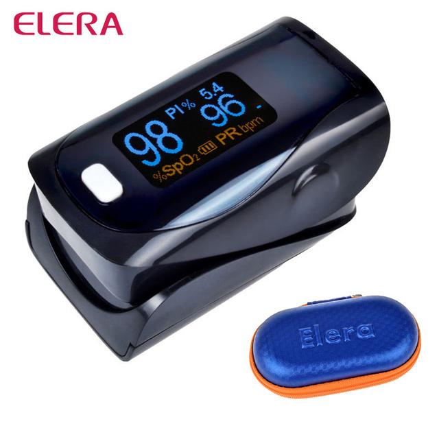 ELERA Más Nuevo!! dedo Oxímetro de Pulso CON EL CASO de Oxígeno En La Sangre un Dedo Oxímetro SPO2 PR oximetro de dedo PI digital Portátil
