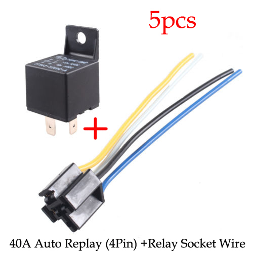 5 X Car 30A AMP 12V Relay Kit SPST For Fan Fuel Pump Light Horn - Automotive Relay Normally Open