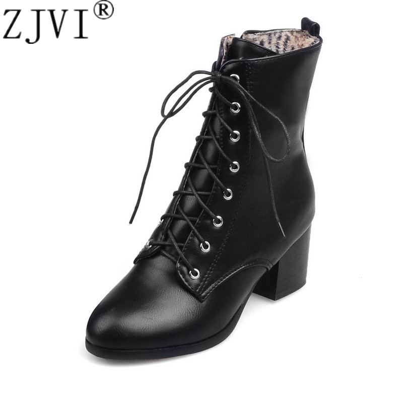 ZJVI women ankle boots womens autumn winter square heels black 2019 woman cross tied ladies round toe work shoes plus size