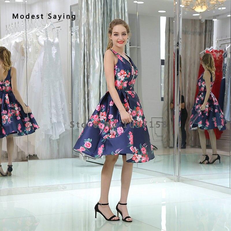 Abschlussballkleider Sexy Ballkleid V-ausschnitt Perlen Blumendruck Homecoming Kleider 2017 Für Größe 18 Mädchen Knielangen Abschlussballkleider B038