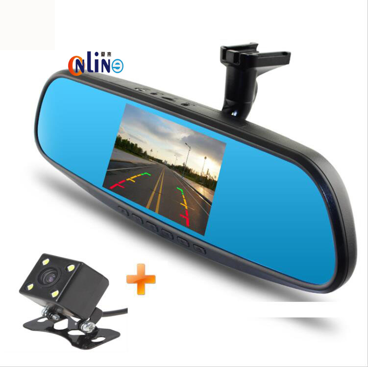 Newest 4.3 inch Full HD 1080P Car Rearview Mirror DVR Car Camera Parking Night Vision Car DVR Dual Camera Video Recorder bigbigroad for vw tiguan routan car dvr blue screen dual lens rearview mirror video recorder 5 inch car black box night vision