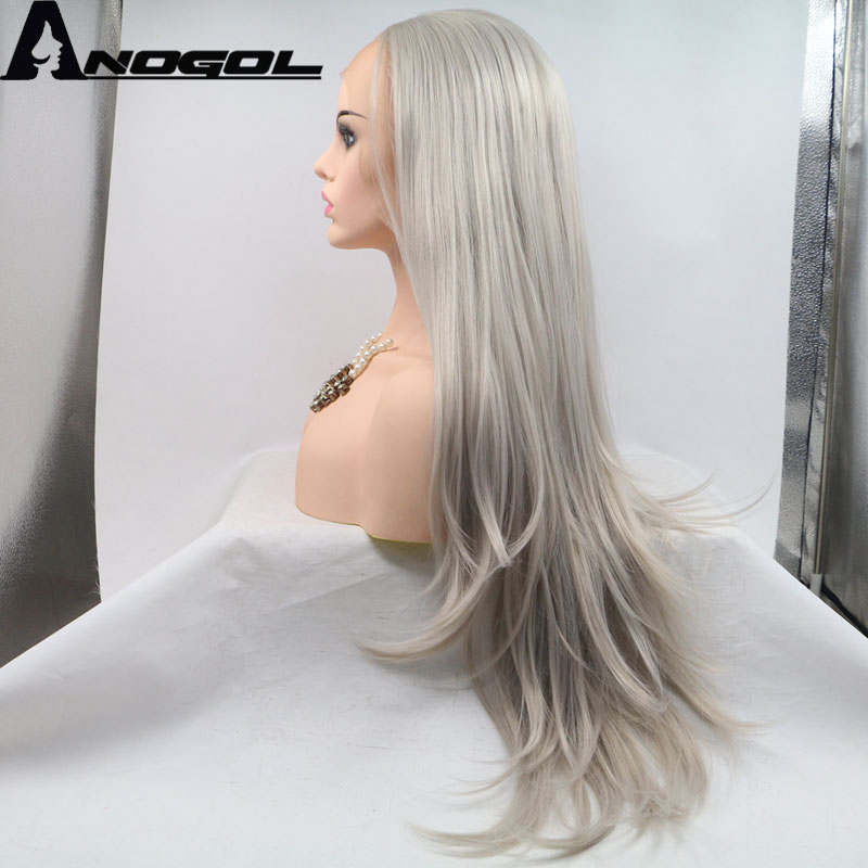 Anogol High Temperature Fiber Cabelo 360 Frontal Full Hair Wigs Ash Grey Long Natural Wave Synthetic Lace Front Wig For Women
