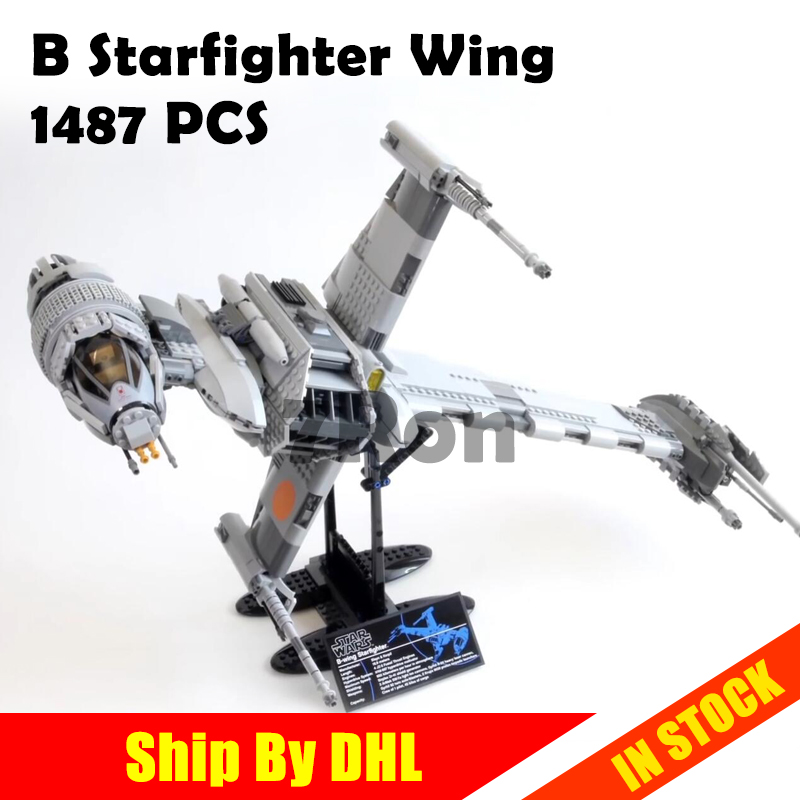05045 Star 1487pcs War Series B Starfighter wing Educational Building Blocks Brick Toys hobbies Compatible with lego 10227 model lepin 05040 y attack starfighter wing building block assembled brick star series war toys compatible with 10134 educational gift