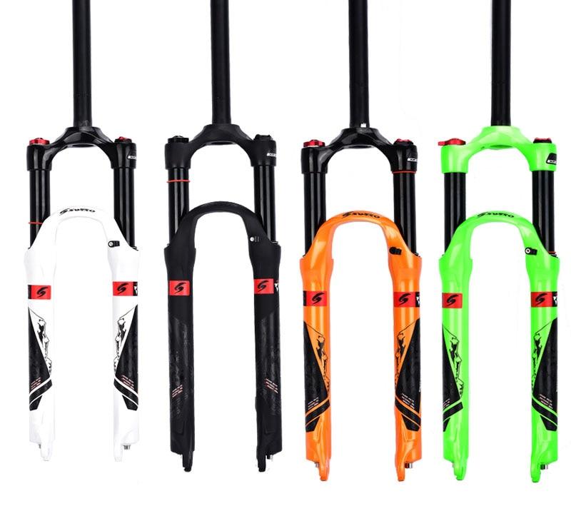 Mountain Bike Fork 26er 27.5er Suspension Bike fork Bicycle MTB air damping Fork Alloy Disc Brake Fork magnesium aluminum alloy bicycle front fork mountain bike front shock 26 27 5bicycle suspension fork disc brakes mtb fork