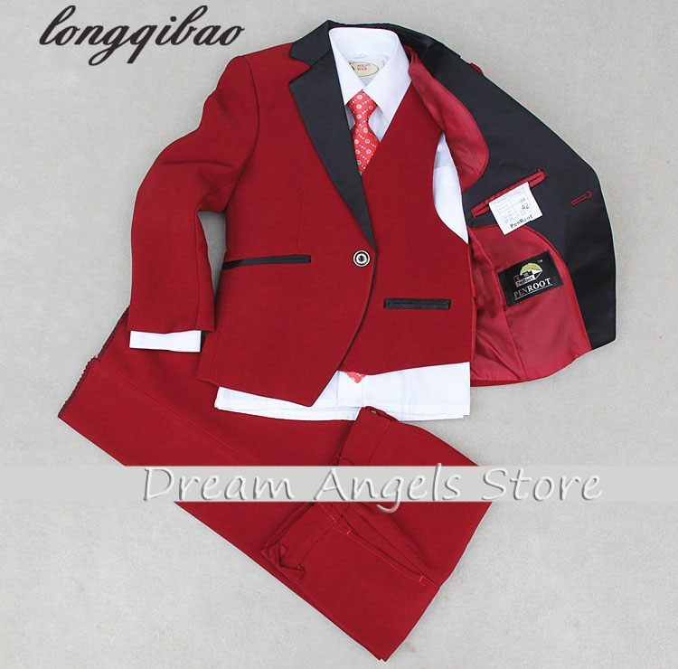 (Jackets+Vest+Pants+Tie+Cravat) Boy Suits Flower girl Slim Fit Tuxedo Brand Fashion Bridegroon Dress Wedding Red Suit Blazer 5