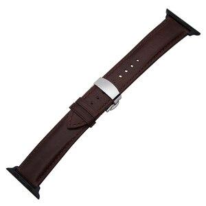 Image 3 - إيطاليا جلد طبيعي Watchband ل iWatch أبل ساعة 38 مللي متر 40 مللي متر 42 مللي متر 44 مللي متر سلسلة 5 4 3 2 فراشة المشبك الفرقة مجنون الحصان حزام