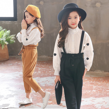 Spring & Autumn Girls Clothes Sets Casual Long Sleeve Shirts + Suspenders Trousers 2PC Kids Outfits Preppy Style Child Clothing girls plaid blouse 2019 spring autumn turn down collar teenager shirts cotton shirts casual clothes child kids long sleeve 4 13t