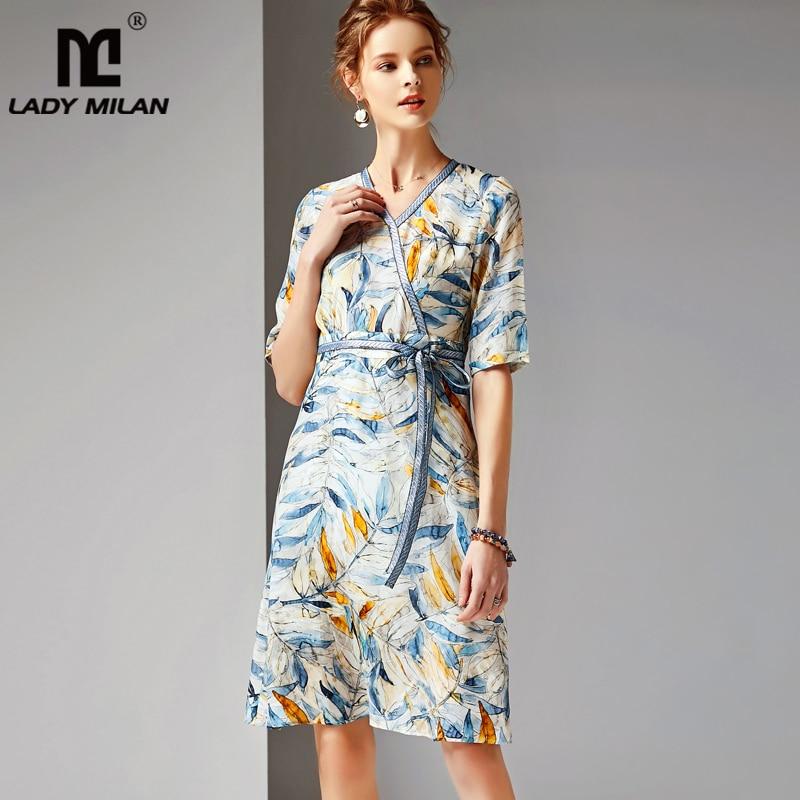 2019 Women's 100 Silk Runway Dresses V Neck Half Sleeves Floral Printed Sash Belt Fashion Elegant Dresses